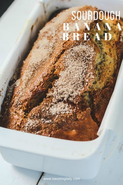 Sourdough Banana Bread recipe is an easy and delicious way to use up sourdough starter in a not too sweet banana bread.
