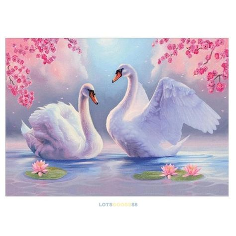 Lovely Swan Lover Lake 5D Diamond DIY Painting Home Decor Cross Craft Stitch