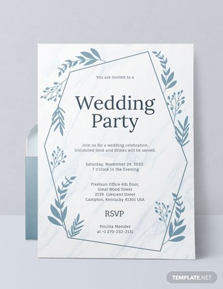 Wedding Party Invitation Template Free Jpg Google Docs Illustrator Word Outlook Apple Pages Psd Pdf Publisher Template Net Wedding Party Invites Party Invite Template Wedding Invitation Card Design