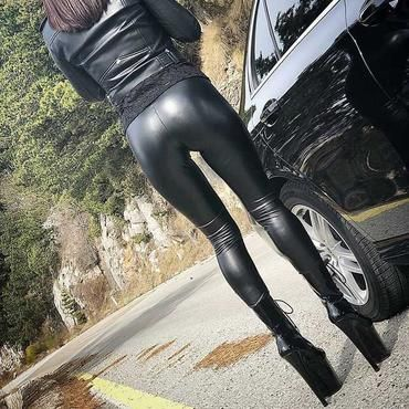 Black Leather Pant Suit