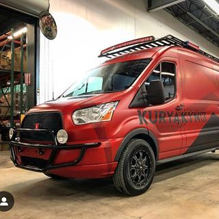 Ford Transit Motovan Show Vehicle For Kuryakyn Outfitted With Aluminess Roof Rack And Light Bar Ford Transit Ford Transit Campervan Ford Transit Roof Rack