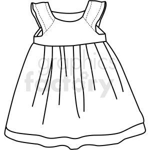 Black White Child Dress Icon Vector Clipart Clip Art Dress Clipart Vector Clipart