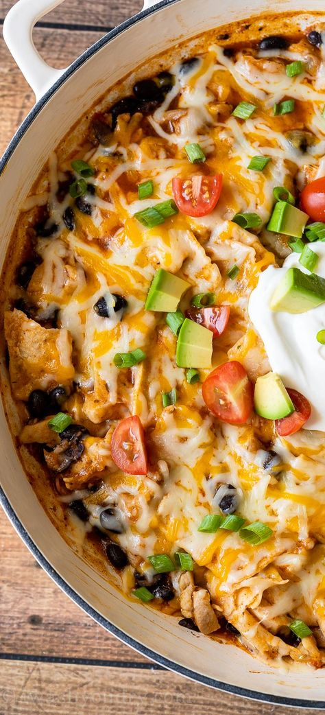 This quick and easy Chicken Black Bean Enchilada Skillet is everything you love about classic enchiladas without all the fuss and ready in under 30 minutes!