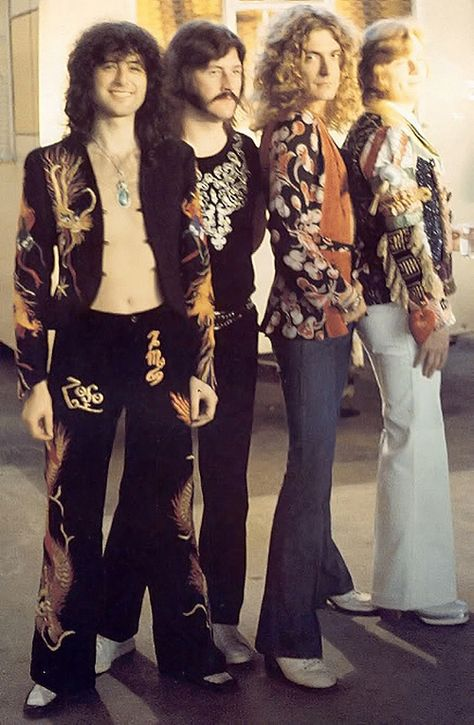 Led Zeppelin. Flare pants, white shoes, all glam'
