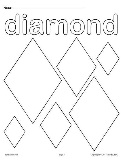 12 Shapes Coloring Pages Shape Coloring Pages Shapes Worksheets Shapes Worksheet Kindergarten Diamond shape worksheet for preschool