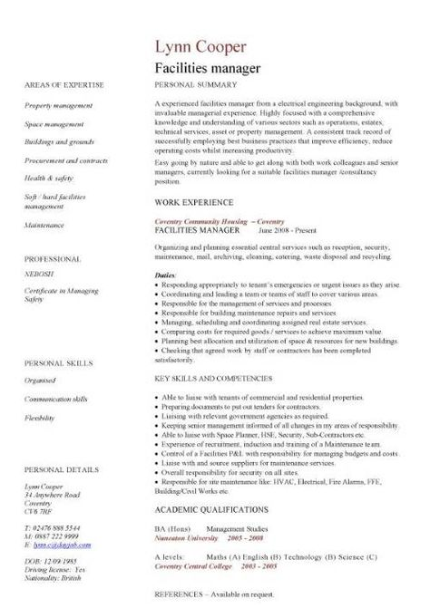 Professional Facilities Manager Resume sample Cover Latter - facilities manager resume