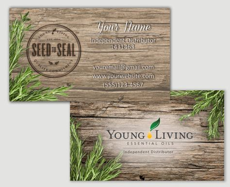 Rosemary Barnwood Young Living Essential Oils Business Cards By CustomOilyDesigns Yleo