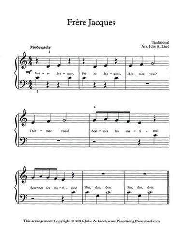 Frere Jacques Free Easy Piano Sheet Music For Beginning Piano