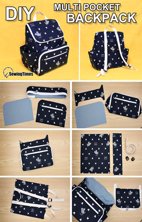 This video shows the diaper backpack production process. This bag is practical because it has many pockets. Share this video with a lot of . Backpack Tutorial, Diy Backpack, Backpack Pattern, Bag Patterns To Sew, Sewing Patterns, Sewing Tutorials, Sewing Crafts, Diy School Supplies, Diy Purse