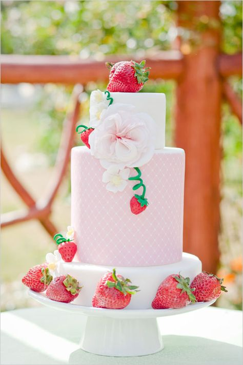 Reminds me of my favorite childhood character Strawberry Short Cake:) - Strawberry Garden Bridal Shower Ideas featuring the most adorable strawberry cake we have ever seen.