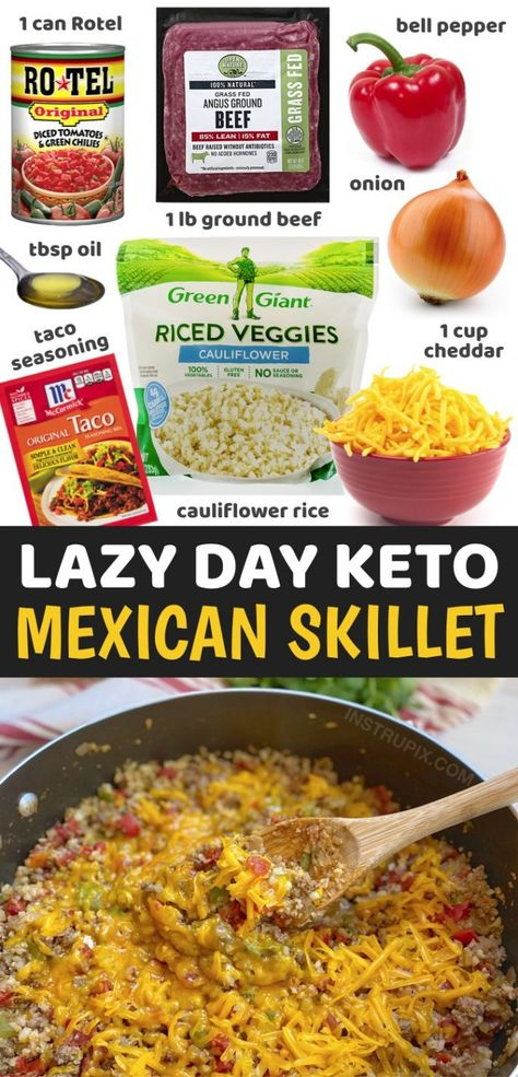 Cheesy Mexican Ground Beef & Cauliflower Rice (Keto Dinner Recipe!)