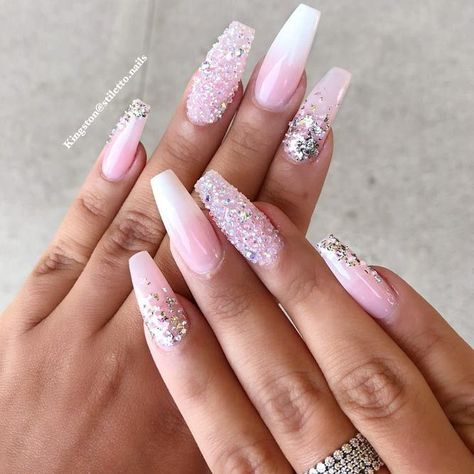 Frosted Coffin Nail Designs With Blinking Crystals #ombrenails #nudenails #rhinestonesnails ❤️ You have to see these coffin nail designs for inspiration if you are looking for a fresh design for them. Check out our trendy ideas for coffin nails and get inspired. ❤️ See more: https://naildesignsjournal.com/coffin-nail-designs/ #naildesignsjournal #nails #nailart #naildesigns #coffinnails #longcoffinnails #longacrylicnails #acrylicnails #coffinnailsshape #longnails