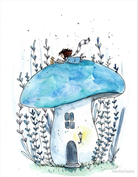 here's a tiny mushroom hous… - Art Sketches Art Drawings Sketches, Cute Drawings, Owl Drawings, Watercolor Illustration, Watercolor Paintings, Watercolor And Ink, Mushroom Art, Tiny Mushroom, Mushroom House