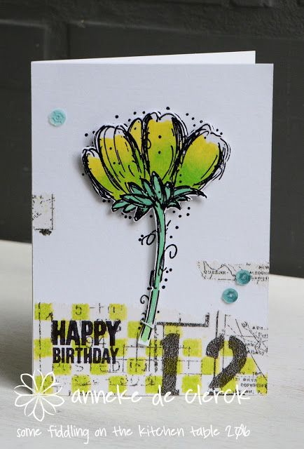 Card by Anneke De Clerck using Darkroom Door Fine Flowers and Happy Birthday Stamp Sets.