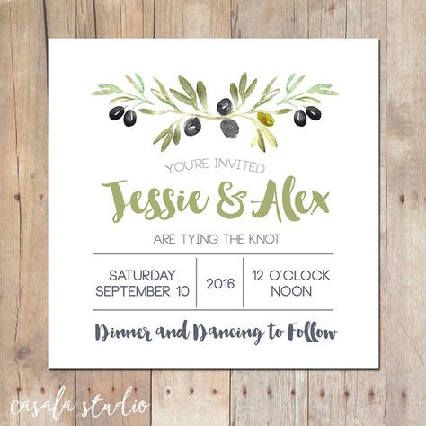 6b43cc25dfca Olive Branch Mountain Rustic Wedding Invitation Bridal Shower Printable  Invitation OR Printed Card