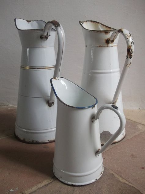 French Vintage Enamel Pitcher by cadeauxdecatherine on Etsy