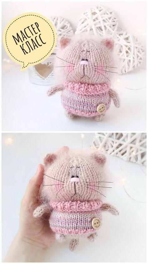 Мастер-класс по вязанию кота спицами, описание вязания, схема игрушки