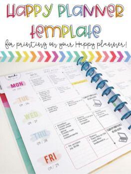 Happy Planner Printing Template- Teacher Edition (2017-2018
