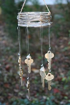 Handmade Windchimes Vintage Old Keys One of A Kind Would be beautiful tarnished and with skeleton keys