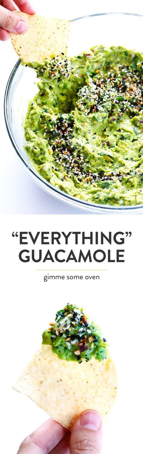 """This """"Everything"""" Guacamole recipe is kicked up a delicious notch with some everything bagel seasoning. It's the perfect savory appetizer dip for a party!   Gimme Some Oven #guacamole #vegetarian #everythingbagel #dip #appetizer"""