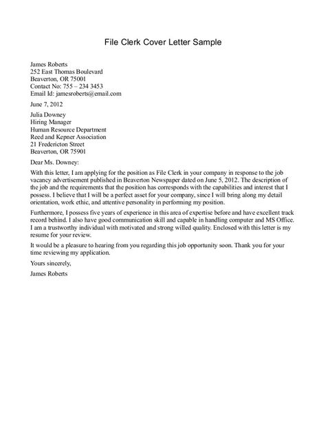 clerical cover letter examples the best sample leading - File Clerk Cover Letter