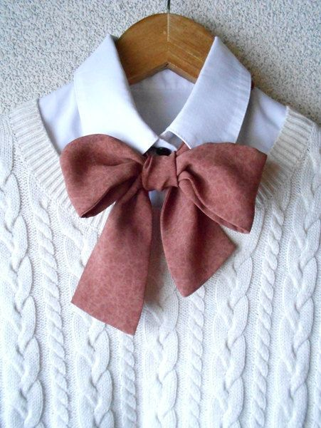 Bow Tie Scarf Maroon Women& Neck Accessories / Ascot by BlumArt on Etsy