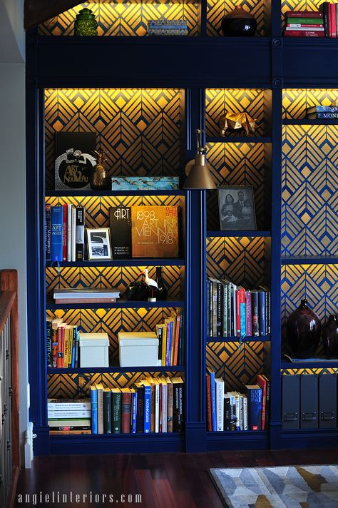 A cobalt blue and gold bookcase with the Deco Diamonds wall stencil .A cobalt blue and gold library bookcase with Cutting Edge Stencils' Deco Diamonds wall stencil on an Ikea Billy bookcase. Ikea Furniture, Furniture Makeover, Painted Furniture, Diy Library Furniture, Furniture Design, Funky Furniture, Billy Ikea, Bookcase Wall, Bookshelves Ikea