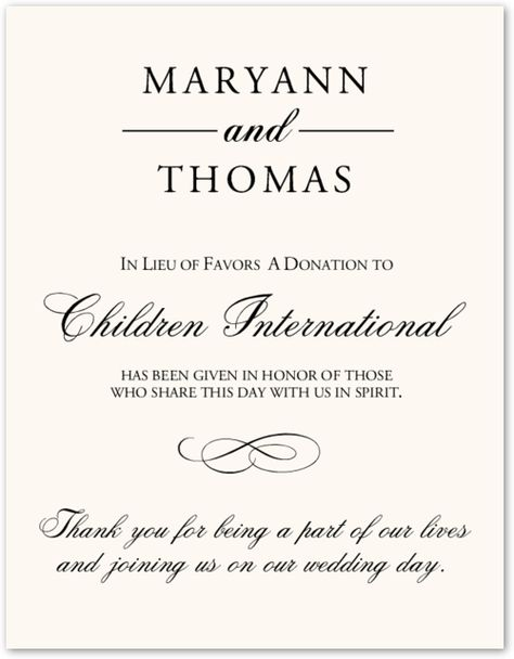 Another terrible wedding ideadonating on behalf of your guests - fresh certificate of appreciation for donation wording