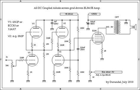 All DC Coupled EL84 Single Ended Amplifier | AMP2 in 2019