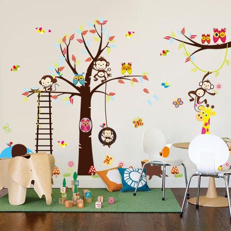 Animals Monkey Owls Tree Wall Decals in 2018 | Branches ...