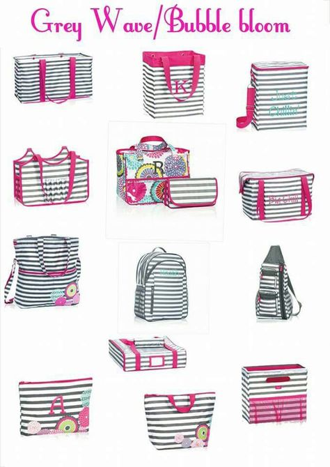 Thirty-One Gifts - The perfect pair...Grey Wave and Bubble Bloom! #ThirtyOneGifts #ThirtyOne #JewellByThirtyOne #Monogramming #Organization #GreyWave #BubbleBloom