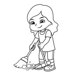 Girl Clean Up Garbage With Broom And Dust Pan Bw Vector Image On