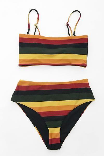 d03c5f9faf Black and Yellow Stripe Reversible Bikini – Cupshe | Things I want ...