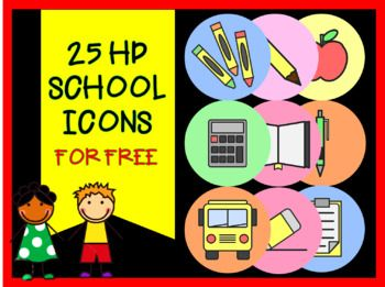 These 25 Hd School Icons Are Ideal For Tpt Sellers And Creative And Innovative Teachers Who Want To Put Learning And Fun School Icon School Innovative Teacher
