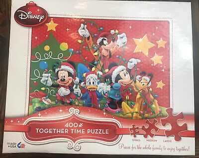 DISNEY MICKEY MOUSE CHRISTMAS FAMILY TOGETHER TIME 400 PIECE JIGSAW PUZZLE NEW