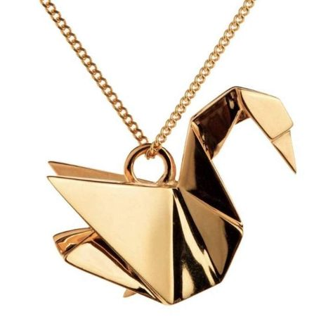 Gold Japanese Origami Swan Necklace Pendant for women – 1 Øak