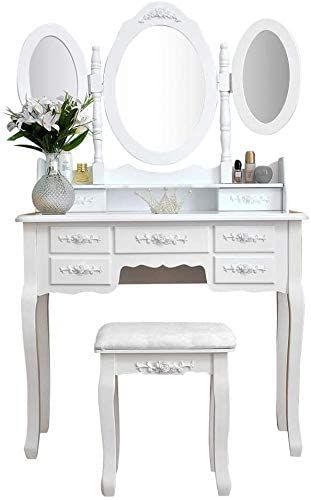 Vanity Makeup Girls Dressing Table Mirror Make Up Table Stool Set 7 Drawers Foldable 3 Mirror In 2020 Dressing Table Set Dressing Table Mirror Makeup Dressing Table