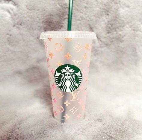 Holographic Pink Lv Starbucks Cup Starbucks Cups Starbucks Reusable Cups
