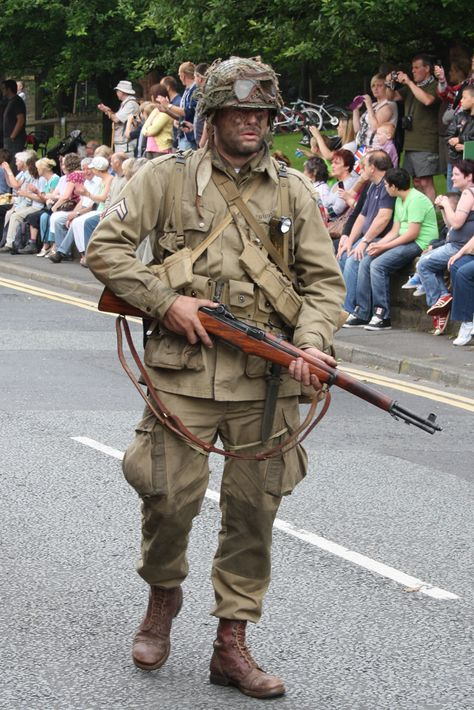 Saddleworth 12-8-12 Parade  US Army Paratrooper of the 82nd Airborne Division at the time of D Day
