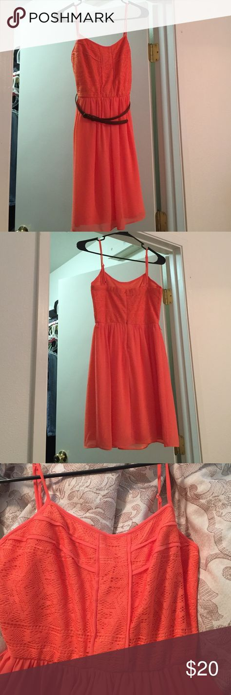 Coral sundress Bought for a wedding, wore once. Can be worn with or without the belt that's included. Great fit, and I love this dress. Perfect condition Maurices Dresses