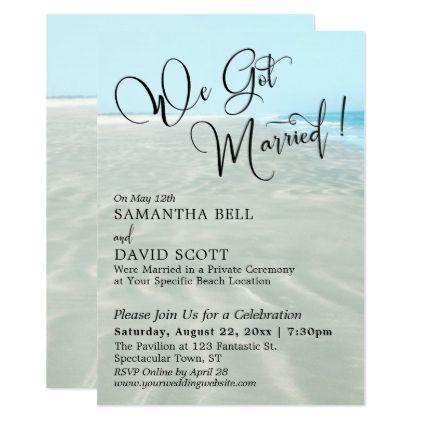 We Got Married Typography Rippled Sand Aqua Water Invitation