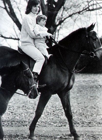 Jackie is riding with John at Glen Ora, the country home the Kennedy's rented in Middleburg, Virginia, in the fall of 1962.