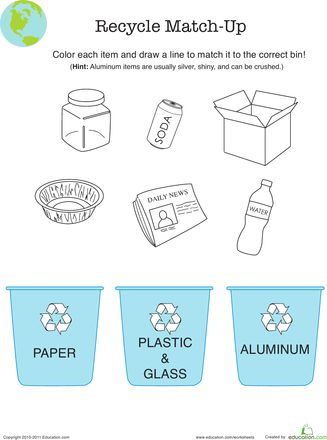Recycling Worksheet Education Com Earth Day Worksheets Recycling Lessons Recycling Recycling worksheets for kindergarten