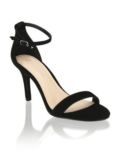 Veloursleder Sandalette | Sandaletten schwarz, Leder