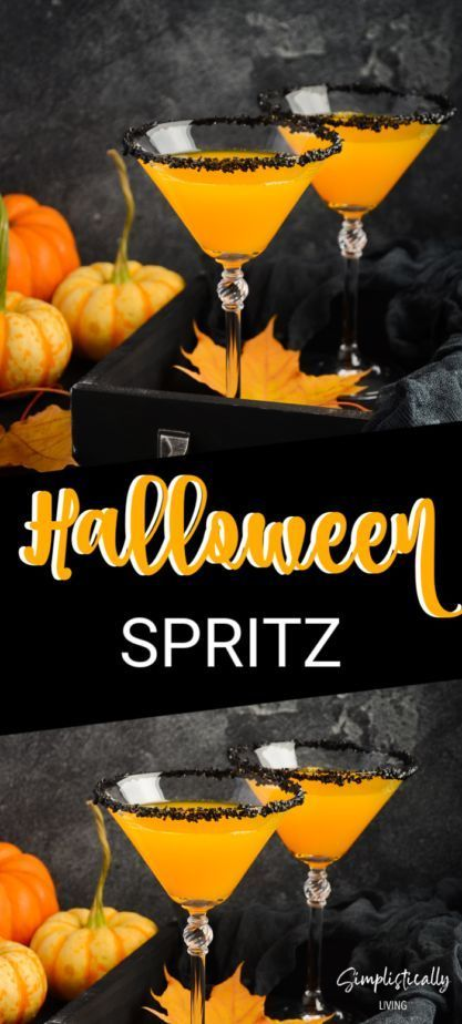 This Halloween Spritz Combines The Colors Of Halloween Orange And Black And A Classic Aperol Spr Aperol Spritz Recipe Halloween Cocktail Recipes Spritz Recipe