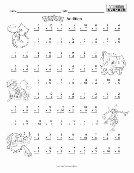 Pokemon Math Worksheets Printable New Pokemon Worksheets Teaching Squared Pokemon Math Math Worksheets Math Addition Worksheets Free Printable Math Worksheets Pokemon worksheets free