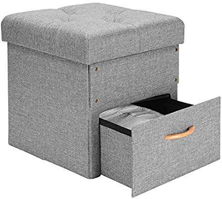 Sortwise Folding Storage Ottoman With One Drawer Storage Chest Foot Rest Stool Grey 17 X16 5 X16 5 Amazo Folding Storage Ottoman Storage Ottoman Storage