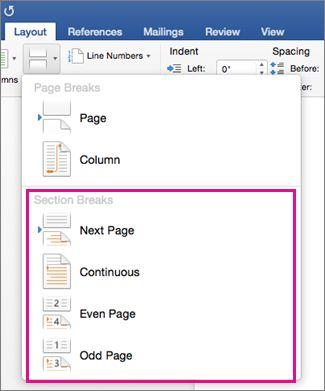 Insert Delete Or Change A Section Break Word For Mac Broken Words Print Layout Change