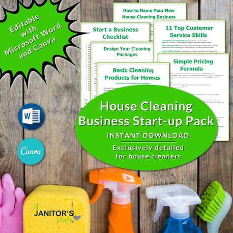 Start A Cleaning Service Business Mini Kit   Professional Housecleaning Business Forms   Cleaning Supply List Template   Printables