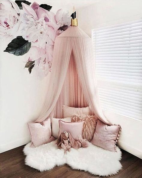 Decorative Blush Pink Baldachin With Crown Scandinavian Nursery Room Decor Children Play Room Canopy Decor Canopy